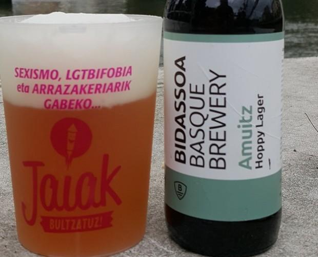 Cerveza Amuitz. ´Amuitz´es la cerveza artesanal tipo APA de BIDASSOA BASQUE BREWERY, sin gluten.