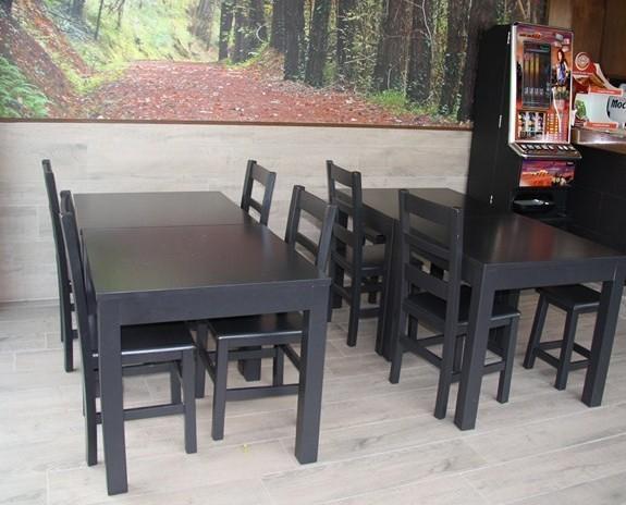 Mesas para restauración. Mesa vertice ref 710 y sillas rioja a-m  wengue