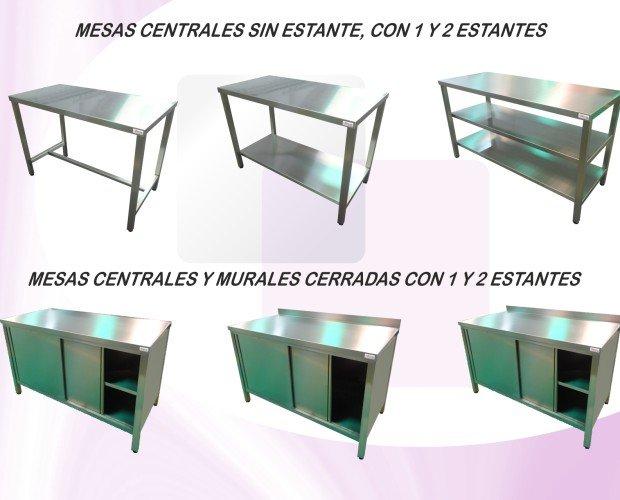 Mesas acero inox. Mesas centrales y murales con y sin estantes, abiertas y cerradas