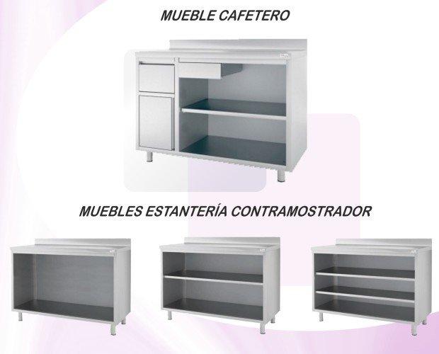 Cafetero. Muebles cafeteros y contramostrador con estantes