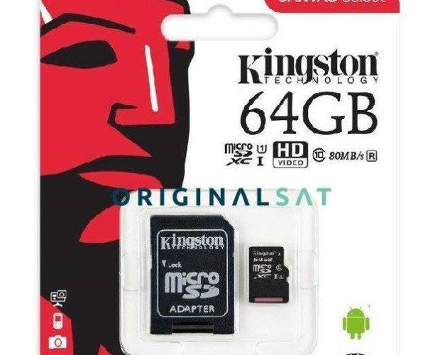 Memoria Micro SD de 64GB. Capacidad extendida para mayor almacenamiento