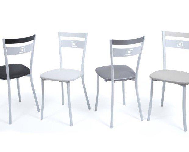 Silla metal mod.05. Silla de metal con pintura epoxi antihuellas, disponible en plata, blanco y negro.