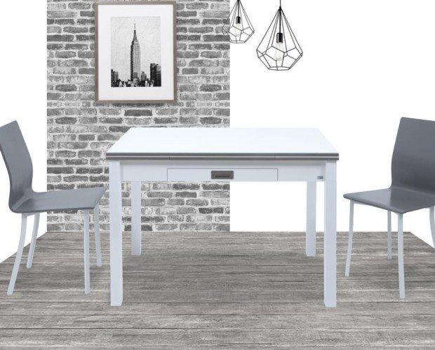 Mesas.Mesa extensible con canto efecto cristal. Sillas con carcasa de madera lacada.
