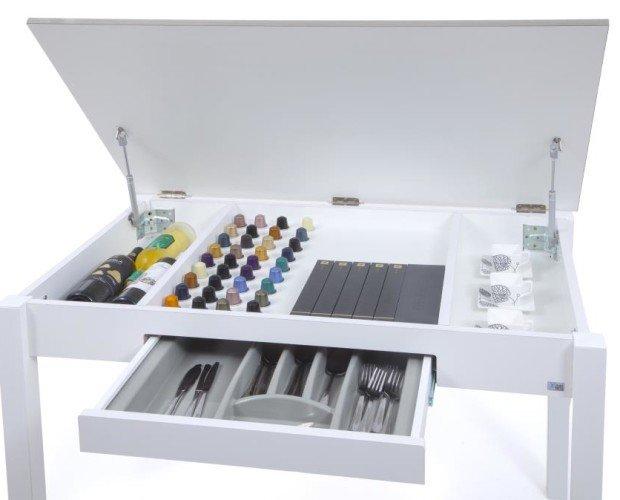 Mesa Fija mod.334 TEEC. Mesa Fija con tapa elevable y cajón cubertero. Canto efecto cristal. 100x60 y 110x70