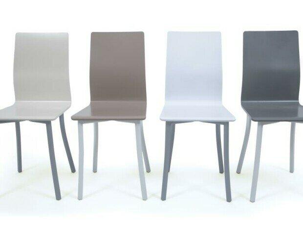 Silla mod017 ERGO. Silla con carcasa de madera lacada combinable con estructura metálica en blanco o gri