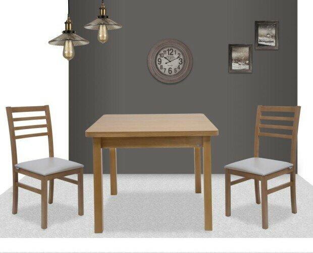 Mesa mod424 y Silla mod45. Mesa libro de 90x90 extensible a 180x90. Silla madera de haya. Disponible 5 colores
