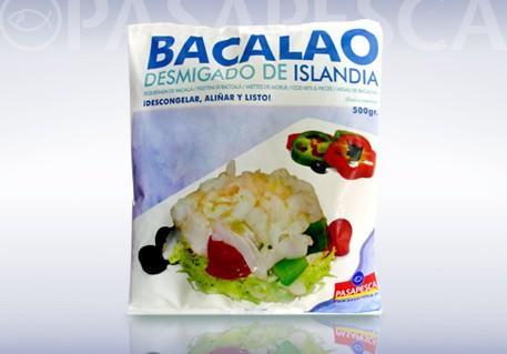 Bacalao desmigado. Descongelar y listo. Producto de Islandia.