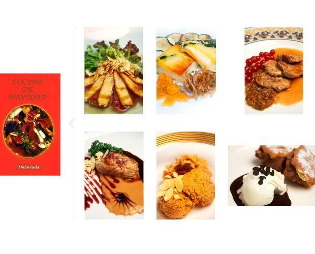 Recetario Delaviuda. Fotografía de recetas de platos con estilismo de cocina.