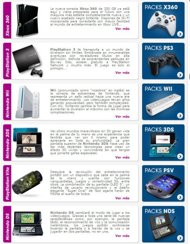 Consolas. Tenemos X360, Wii, PS3, PSP, NDS, 3DS, PS2, PSV y para PC