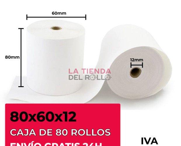 Rollos de Papel Térmico.Medidas: 80x60x12. Alta sensibilidad y un bajo residuo.