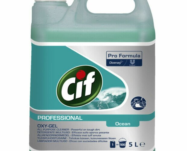 Cif Professional Oxy-Gel. Es un detergente con oxígeno activo para suelos y superficies lavables
