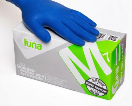 Guantes de nitrilo. Guantes de nitrilo sin polvo color azul