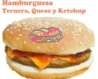 Hamburguesas Precocinadas.Hamburguesa de ternera con queso y ketchup