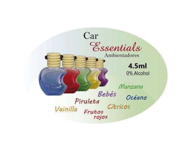 CarEssentials. manzana, bebés, océano, cítrico, piruletas, vainilla, frutos rojos.