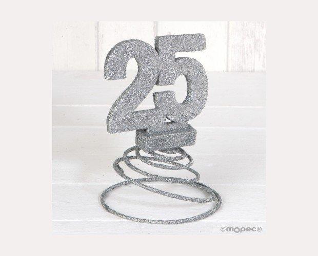 25 Aniversario. Purpurina Plateada con Muelle