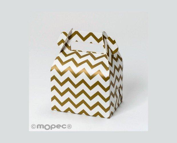 Caja Cartón con Asa. En color dorado es perfecta para decorar fiestas elegantes