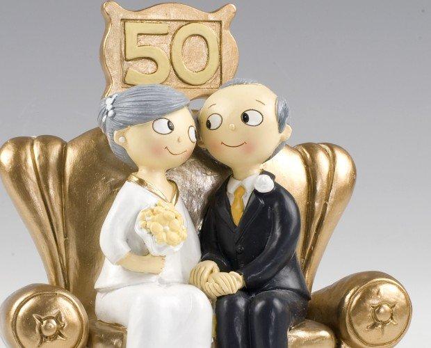 Figura de novios 50 años. Figura de pastel 50 aniversario