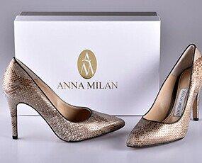 Zapatos de salón de piel de pitón. Zapatos de tacón. Diseño Exclusivo de Anna Milán