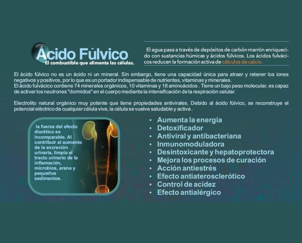 Agua.El ácido fúlvico tiene la capacidad de atraer y retener los iones negativos y positivos.