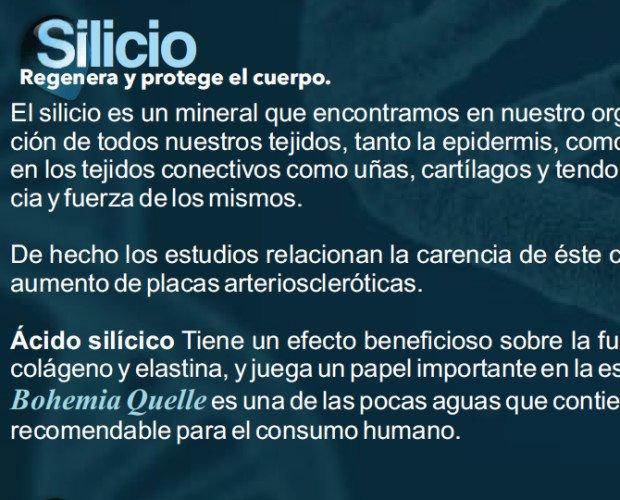Acido Silicio. Propiedades de nuestra agua: activa las funciones importantes del protoplasmo de las células, tiene un efecto beneficioso sobre la función...