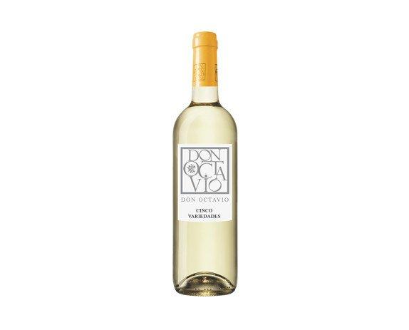 Don Octavio Cinco Variedades. Es un blend único de 5 variedades: Chardonnay, S. Blanc, Verdejo, Macabeo y Moscatel.