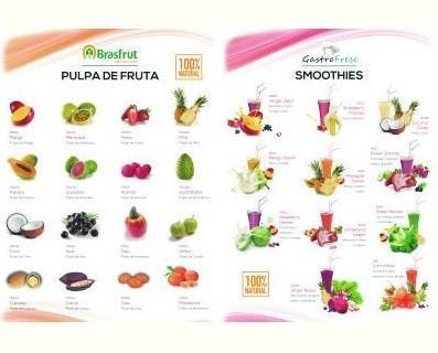 Pulpa y smoothies. De las mejores pulpas de brasil y la mezcla de trozos de fruta , para hace deliciosos zumos y batidos