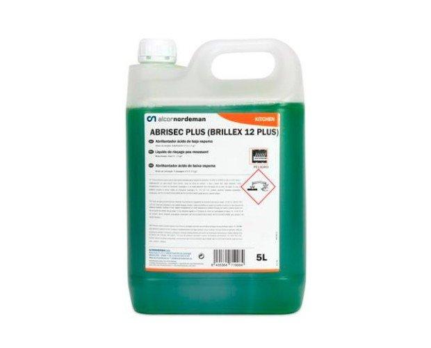 Abrillantador Abrisec Plus. Producto líquido ácido especialmente formulado para abrillantar vajillas y cuberterías en máquinas automáticas
