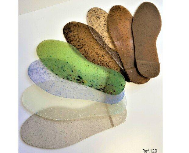 Componentes del Calzado.Suelas para el calzado ECO . Fabricadas 100% con materiales reciclados.