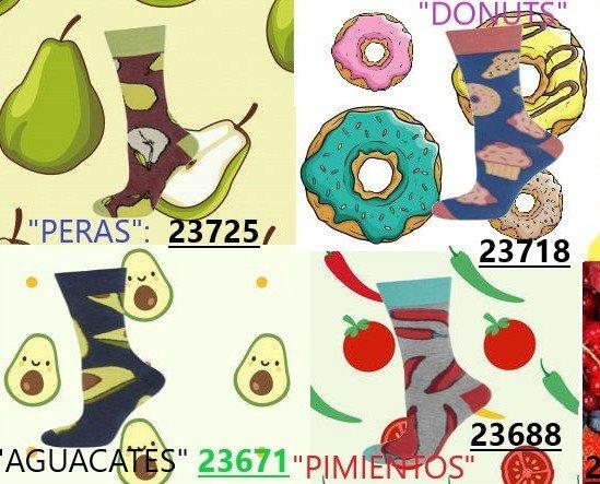 NOVEDADES_ENERO_2019_CON_TEXTO. Calcetines estampados con motivos de Alimentos, Frutas y colores vivos.