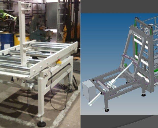 Volteador cuadros. Sistema de volteo de cuadros eléctricos de 300 kgs de posición tumbados a vertical