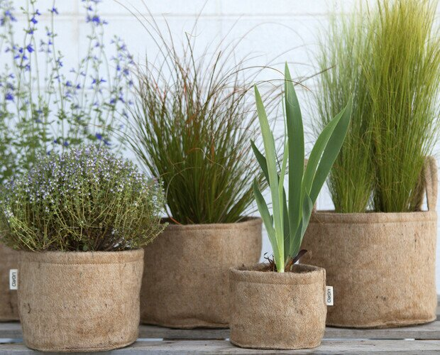 UGro Jute. Macetas ecologicas, biodegradables hechas de fibras vegetales de yute.