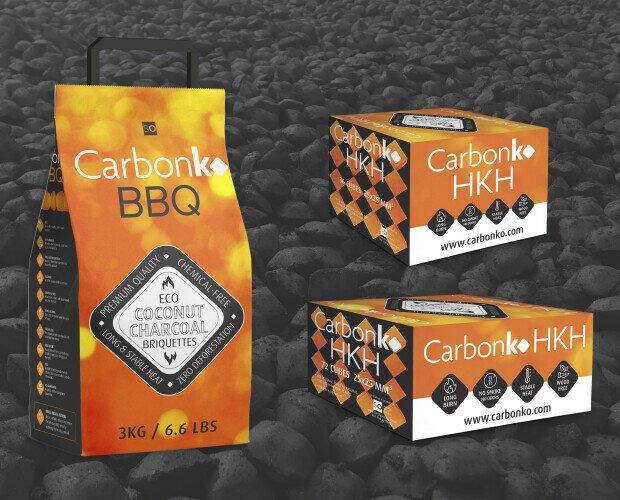 CarbonKo BBQ y HKH. Briquetas de carbón de coco para barbacoa y shisha.