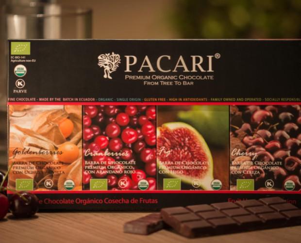 Frutas exóticas. 4 barras del mejor chocolate con la mejor fruta