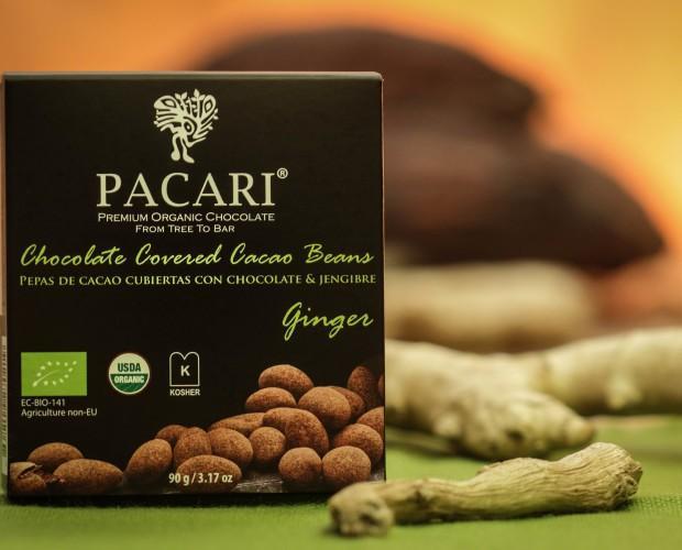 Cacao con gengibre. Pack de 6 unidades. Pepas de cacao cubiertas