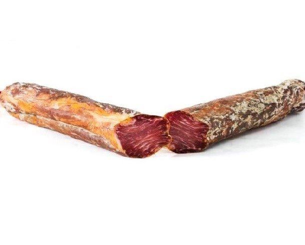 Caña de lomo artesano. La Caña de Lomo Artesana es un embutido tradicional elaborado a partir de la presa ubicada junto a la paletilla del cerdo ibérico...