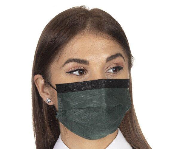 Verde Oscuro & Negro. Mascarilla Quirúrgica IIR, BFE 99%, especialmente creada para sector hostelería