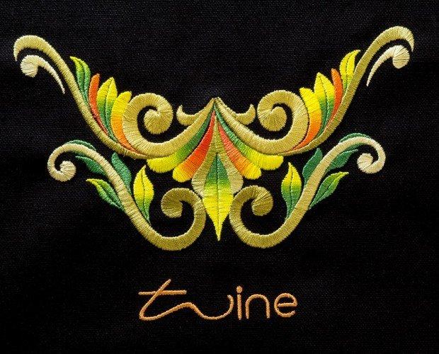 Bordados Twine. Los colores incluyen oro por ejemplo, así como gradientes.