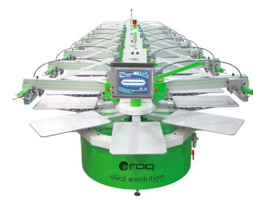 Roqprint Oval. Impresora automática para grandes producciones y grandes formatos.