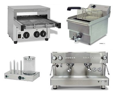 Electrodomésticos. Máquinas de café, Calentadores de Buffet, Armarios refrigerados de vino, Cortadora de Fiambres, Batidores Eléctricos, Microondas