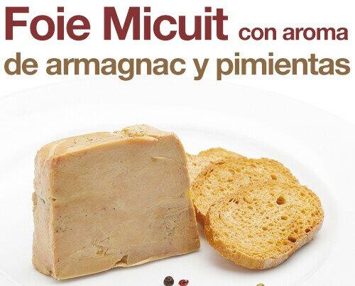 Foie Micuit con aroma de armagnac. Foie micuit 100% natural, un punto suave de cocción para apreciar mejor la textura