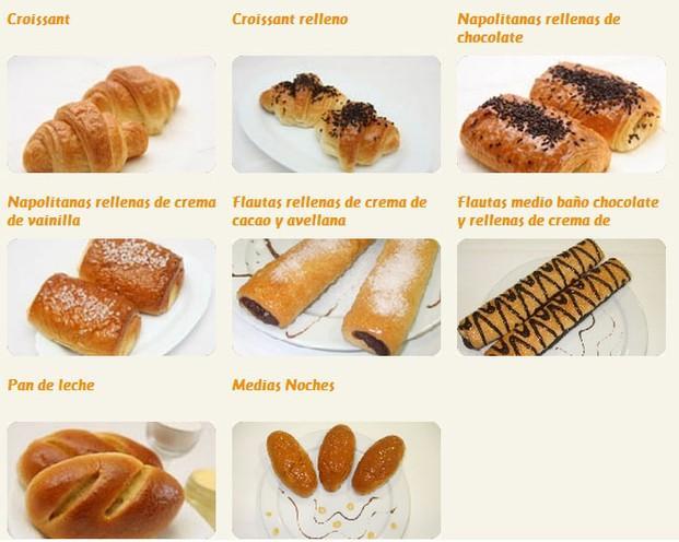 Bollería. Napolitanas, croissants, flautas rellenas