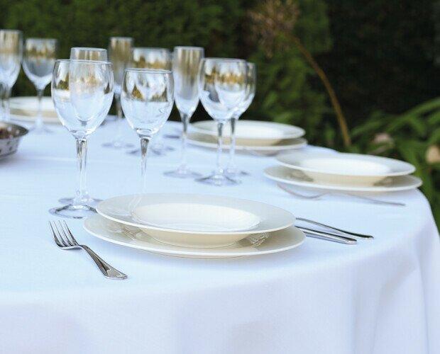 Mantel redondo Satén Poliéster. Mantel para la hostelería, blanco, para mesa redonda, ideal eventos oficiales,Pascuet