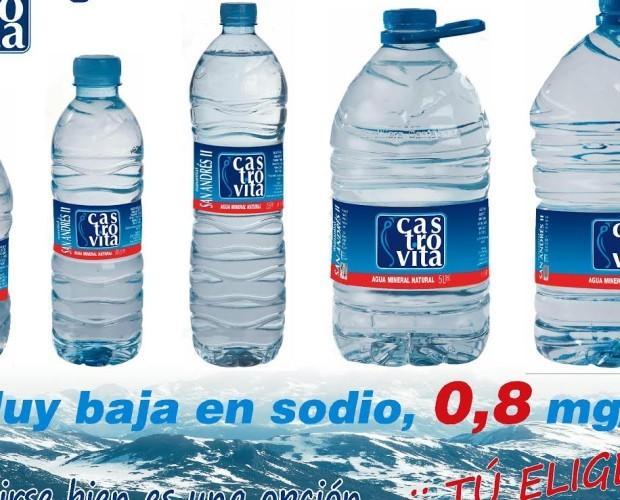 Agua mineral. Agua mineral natural Castrovita. La más baja en sodio del mercado con tan solo 0.8 mg/l.
