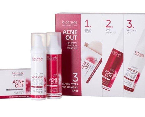 Set 3 Pasos Acné Out. 3 productos anti-acné: gel, loción y crema hidratante