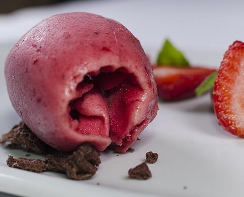 Sorbete de fresa. Exquisitos sabores cítricos
