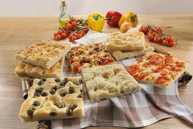 Focaccias Congeladas.Con cebolla, olivas, tomates cherry, queso y verduras.