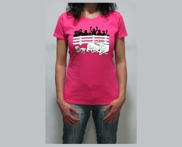 Momy toros. Camiseta de mujer fucsia