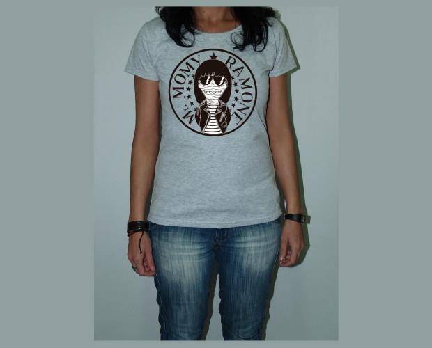 Camiseta gris de mujer. Momy Ramone