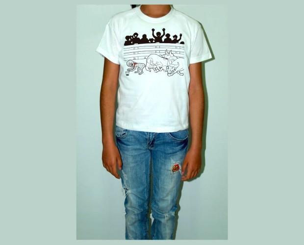 Camiseta blanca para niño. Momy toros
