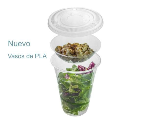 Vaso biodegradable. Vaso compostable con inserto y tapas disponibles.